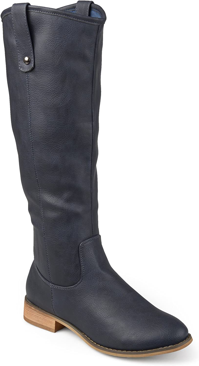 Journee Collection Womens Regular, Wide and Extra Wide Calf Round Toe Mid-Calf Boots Blue
