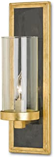 Kathy Kuo Home Arzner Hollywood Regency Brass 1 Light Wall Sconce