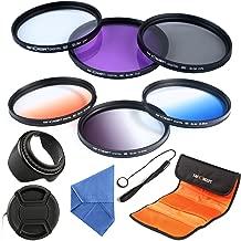 62mm Filter, K&F Concept 62mm Slim Lens Filter Set (Slim FLD+Slim CPL Circular Polarizing+ Slim UV Protector+ Slim Graduated Color Filter Blue+Orange+Gray)