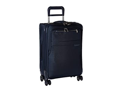Briggs & Riley Baseline Domestic Carry-On Expandable Spinner (Navy Blue) Carry on Luggage