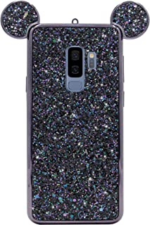 Galaxy S9 Plus Case, MC Fashion Cute Bling Bling Sparkle Glitter 3D Mickey Mouse Ears Flexible and Protective TPU Case for Samsung Galaxy S9 Plus (2018 Release) (Black)