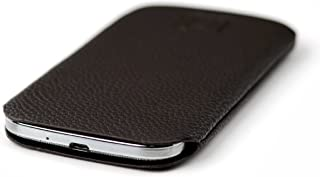 Dockem Synthetic Leather Smartphone Sleeve for Samsung Galaxy S4 or S3 - Ultra Slim Professional Executive Synthetic Leather Pouch Case (Dark Brown)
