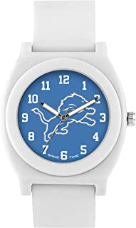 Game Time Women's 'Fan' Quartz Plastic and Rubber Casual Watch, Color:White (Model: NFL-FNW-DET)