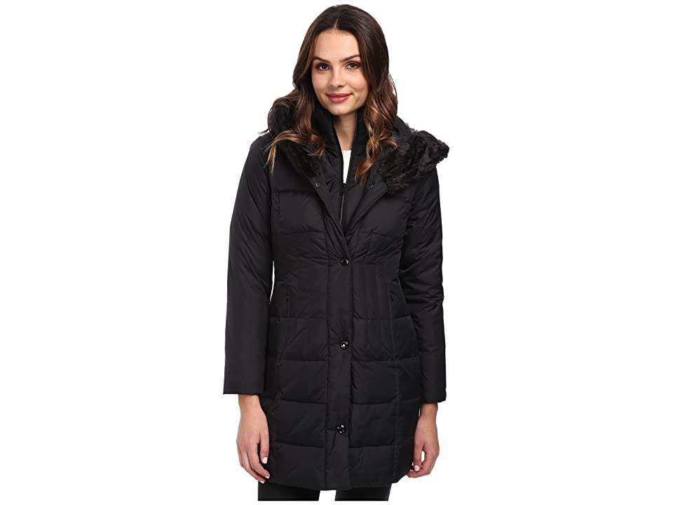 Larry Levine 3/4 Length Down Coat w/ Soft Faux Fur Trim (Black) Women
