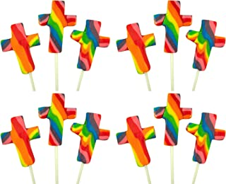 Fruit Flavored Swirl Cross Shape Lollipops Candy Suckers (Box of 12)