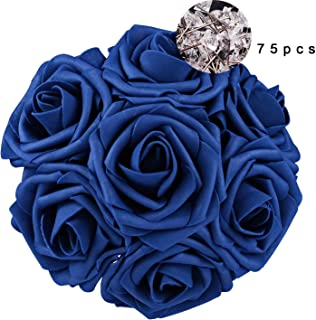 Carreking Artificial Flowers Roses 75pcs Real Looking Cream Fake Roses DIY Wedding Bouquets Shower Party Home Decorations Arrangements Party Home Decorations (Royal Blue+Diamond)