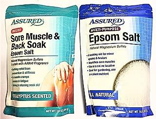 ASSURED EPSOM SALT BUNDLE OF 2 BAGS: 1 - 16 oz. bag of Eucalyptus sore muscle and back soak and 1 - 16 oz. bag of all natural multi-purpose epsom salts.