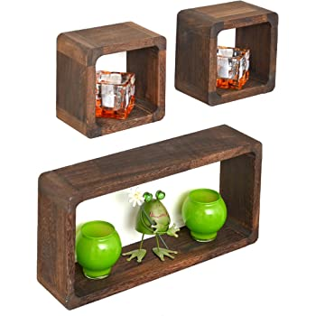 ts-ideen 3er Set Lounge Cube Regal Holz Landhaus Stil