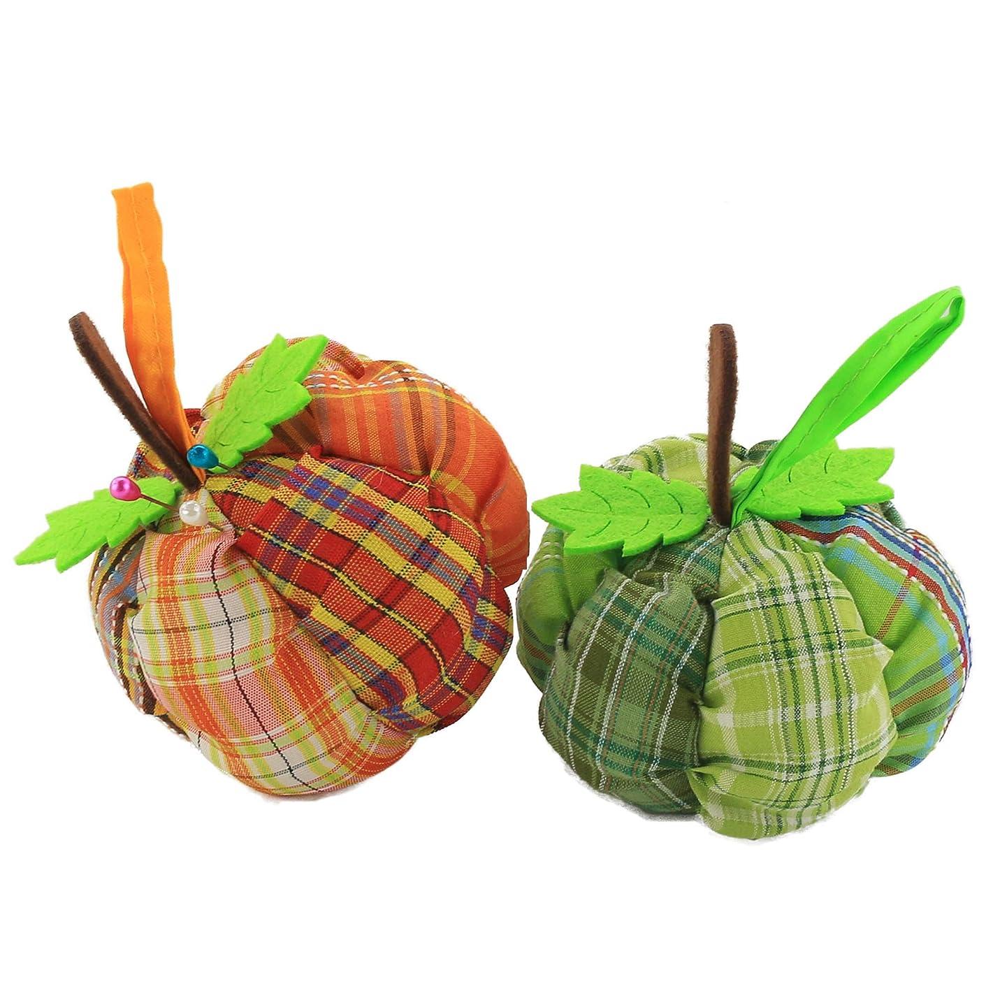 Wewill Handcraft Novetly Pumpkin Pincushion, Needle Holder Sewing Kit, DIY Craft, Pack ot 2 (Pumpkin)