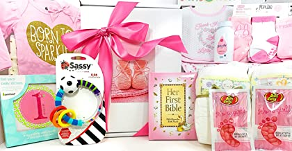 Baby Girl Gift Set Box Basket - 18 Items for the New Bundle of Joy - Send Congratulations to the Newborn Baby's Parents! Great for a Baby Shower Gift!