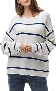 Jersey Punto Mujer Invierno Jersey Rayas Camiseta Manga Larga Sueter Basico Suelto Jerseys Camisa Tops Pull-Over Suéter Mujer Primavera Otoño