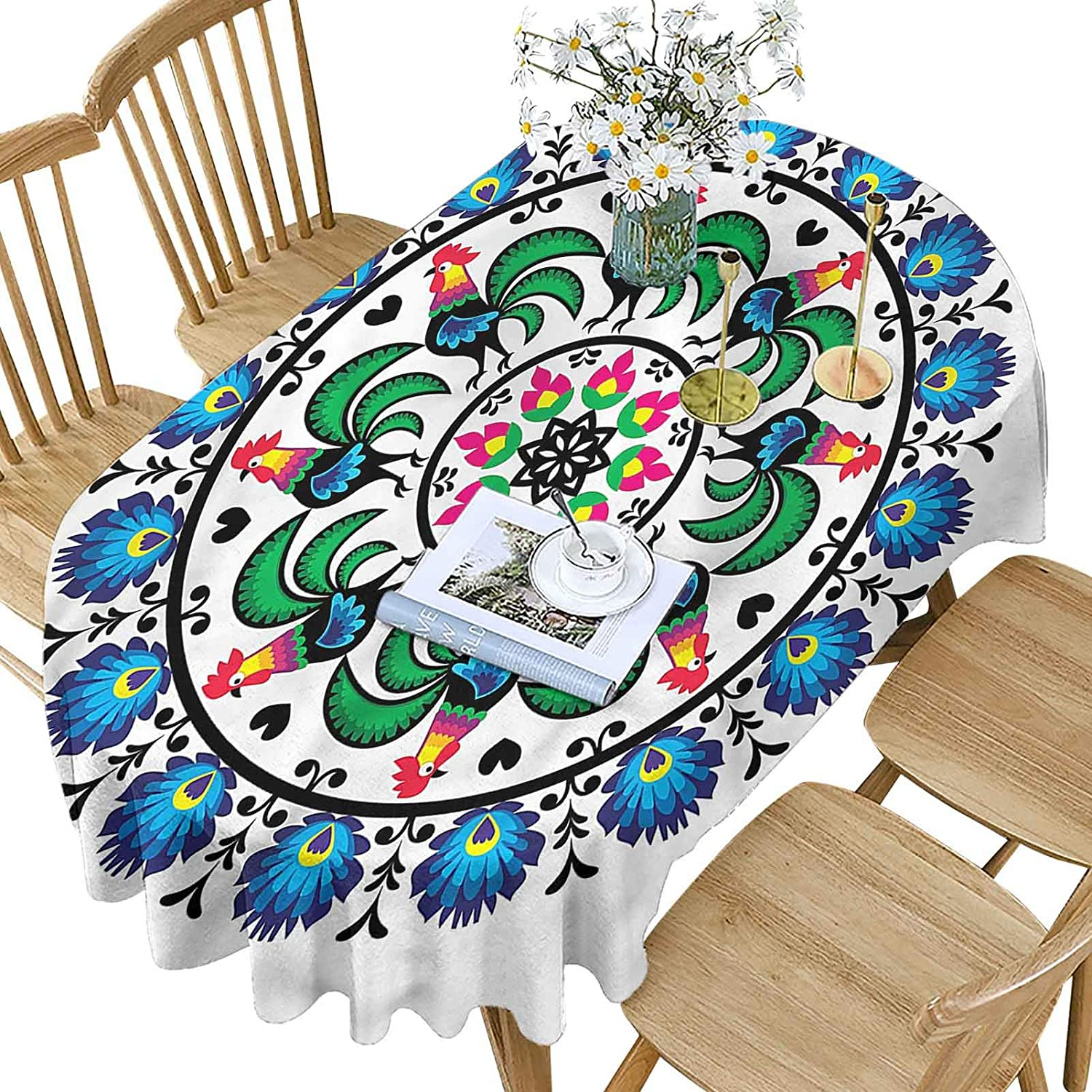 Gallus Polyester Oval Tablecloth Patter Flowers OFFicial Tulsa Mall site Rooster Colorful