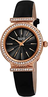 Burgi Swarovski Crystal Studded Bezel Watch - Sparkling Design Fine Guilloche Pattern Dial - Genuine Patent Leather Black Strap - BUR230