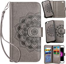 Vofolen 2-in-1 Case for iPhone 6S Plus Case iPhone 6 Plus Wallet Card Holder Detachable Flip Cover Magnetic Folio PU Leather Protective Slim Shell Wrist Strap for iPhone 6 Plus 6S Plus Mandala Grey