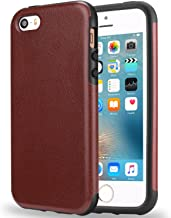 TENDLIN iPhone SE Case Premium Leather Back Flexible TPU Silicone Hybrid Arc Bumper Shockproof Case Good Protection for iPhone SE and iPhone 5S / 5 (Brown)