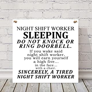 chengyar7236 Night Shift Worker Sign, Nurses Sleeping Wood Sign, Do not Disturb Warning Quote Sign, 19cm by 19cm Plaque.