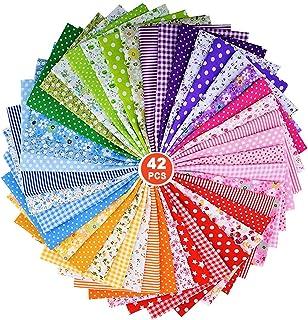 foresta Travistar 7 Pcs Tessuti Stampati Tessuto Cotone Set di Stoffa Patchwork Tessuti Stampati Quadratini di Stoffa 50 x 40 cm