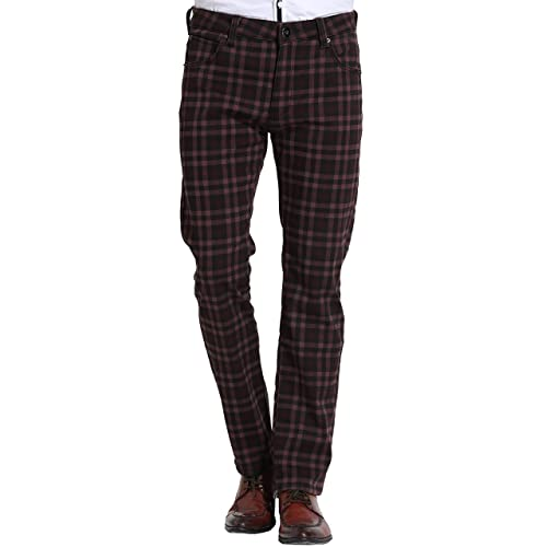 daac96a2cfb3e3 SSLR Men's Check Thermal Straight Fit Winter Fleece Jeans