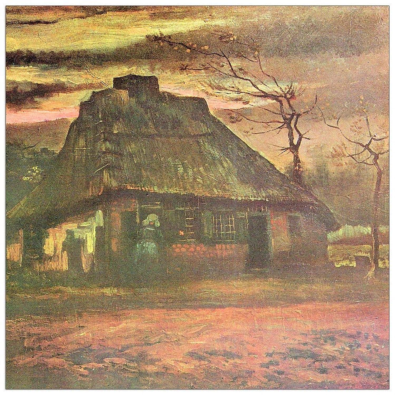 ArtPlaza TW91232 Van Gogh Vincent-Straw hut at Dusk Decorative Panel, 15.5x15.5 Inch, Multicolored