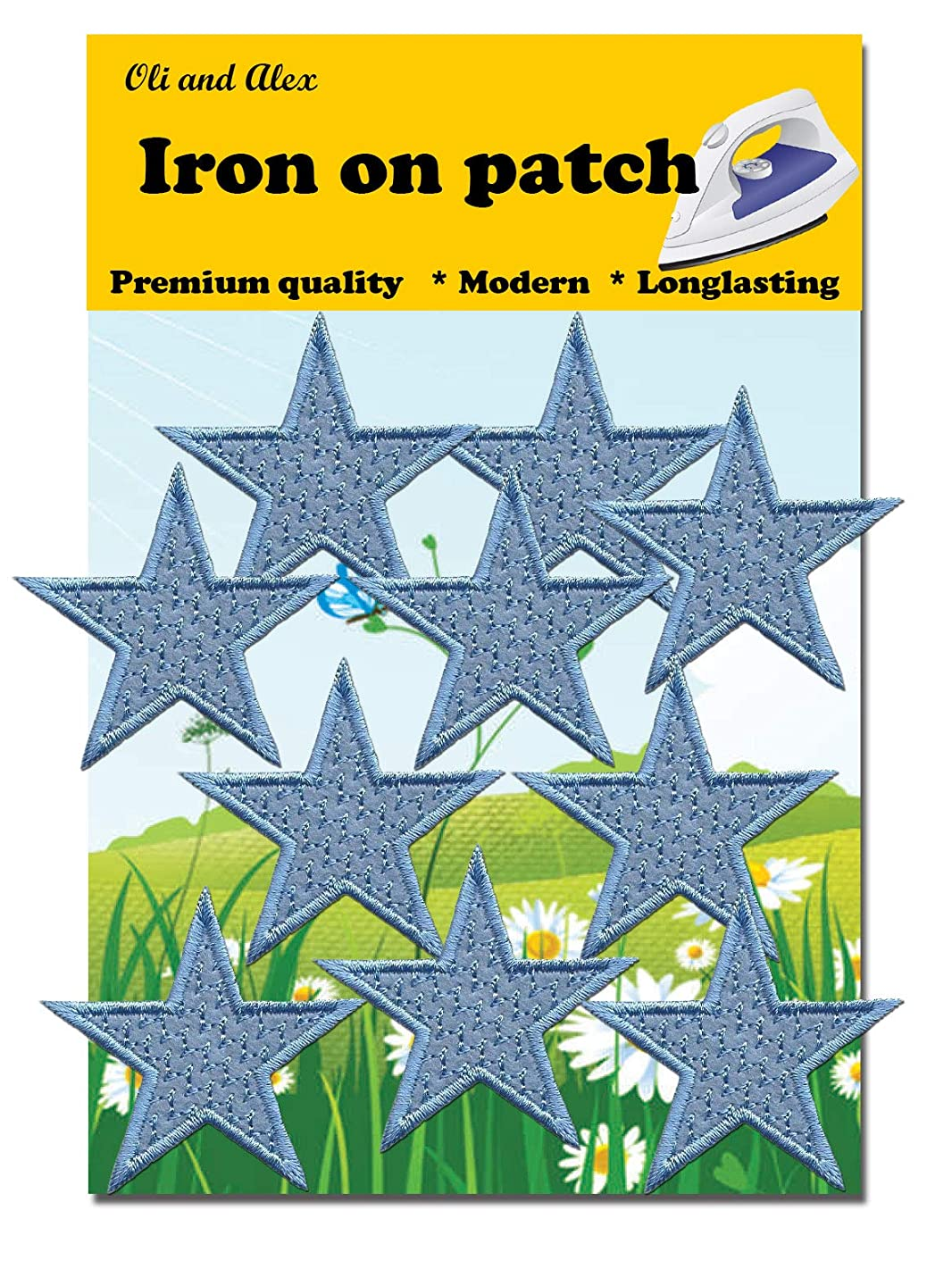 Iron On Patches - Blue Star Patch 10 pcs Iron On Patch Embroidered Applique A-33