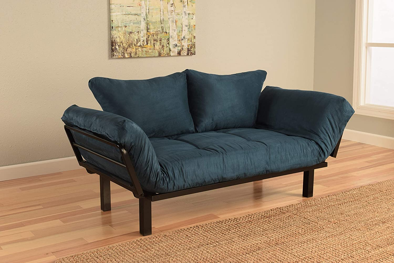 Jerry Sales Bright Day Twin Size Bed Futon Metal Frame Navy Many Color Fabrics to Choose