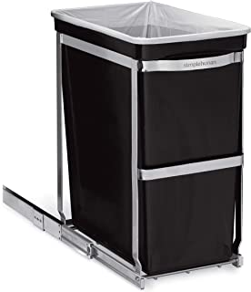 simplehuman 30 Liter / 8 Gallon Under Counter Kitchen Pull-Out Trash Can, Heavy-Duty Steel Frame (Renewed)