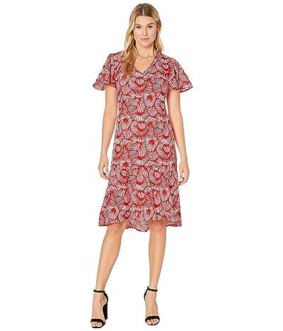 Tommy Bahama Shell We Dance Short Sleeve Midi Dress (Poppy Red) Women