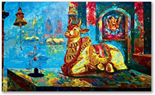 Tamatina Modern Art Canvas Painting | Lord Shiva - Nandi ji | Abstract Art Unframed Painting for Home décor|Size - 48X29 I...