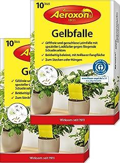 Aeroxon – Gelbfalle – Gelbtafeln – 20 Gelbsticker, große Klebefläche, perfekt gegen Ungeziefer, Zuhause und auf dem Balkon – Gegen Trauermücken, Blattläuse, Thripse und weiße Fliegen