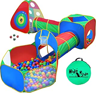 Best 5pc Kids Ball Pit Tents and Tunnels, Toddler Jungle Gym Play Tent with Play Crawl Tunnel Toy, for Boys babies infants Children, Pit Balls NOT Included, Indoor Outdoor Gift, Target Game w/ 4 Dart Balls Review