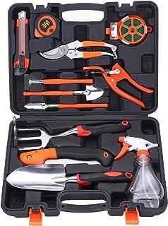 COLMAX 13PCS Mixed General GARDEN Tool Kit, Portable DIY Tool Set, with Plastic Tool box Storage Case, Gardening Gloves/Di...