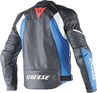 Dainese Avro D1 Adult Tutu Cowhide Leather Jacket, Black/White/Fluo-Red, EUR-54/US-44