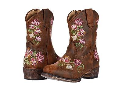 Roper Kids Juliet (Toddler) (Brown Vamp/Flower Embroidery) Girls Shoes