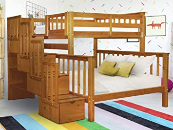 Amazon Com Bedz King Stairway Bunk Beds Twin Over Full With 4 Drawers In The Steps Honey Furniture Decor
