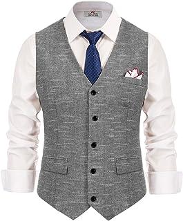 PAUL JONES Men's British Herringbone Tweed Vest Premium Wool Waistcoat
