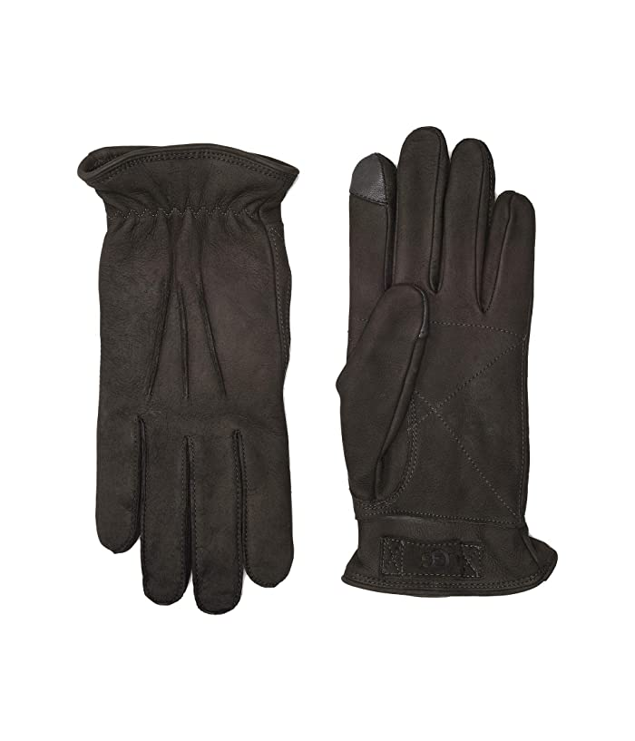 UGG  3 Point Leather Tech Gloves with Sherpa Lining (Charcoal) Extreme Cold Weather Gloves
