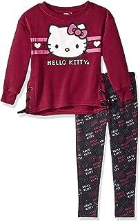 Hello Kitty Girls Little 2 Piece Legging Set, Burgundy/Black, 6