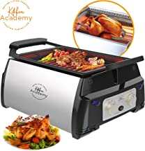 Kitchen Academy Electric Grill Kitchen BBQ Grill with Infrared Technology Includes Kebab & Skewer Set, Fries Basket, Drip Tray