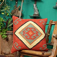 Sanskrutihomes Indian Traditional Pillow Case 100% Jute Cushion Cover Square Shape Handwoven Kilim Vintage Rustic Pillow...