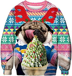 Men Sweatshirt Stylish Men Women Santa Xmas Hoodie Ugly Christmas Jumper Novelty Clown Warm