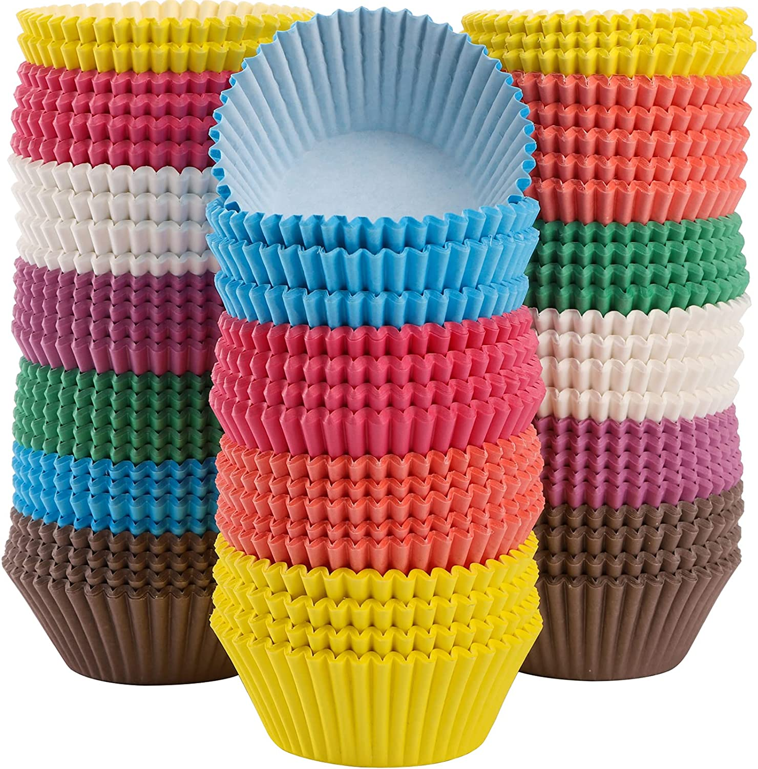 WUWEOT 800 Count Paper Baking Cups Liners, 2 Inches Odorless Cake Baking Cups, Safe Food Grade Cupcake Liners for Cake Balls, Muffins, Cupcakes, and Candies (8 colors)