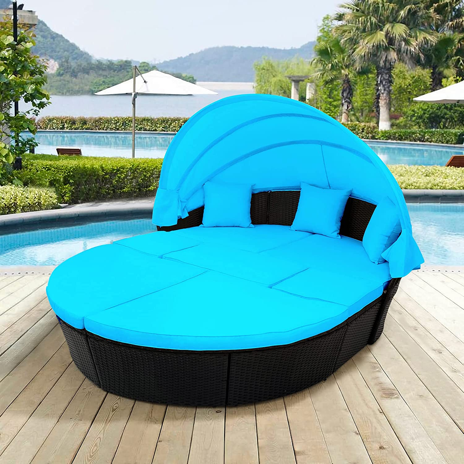 Merax All-Weather Outdoor Sectional Sofa Conversation Set Rattan Round Daybed Sunbed with Retractable Canopy and Removable Cushions (Blue)