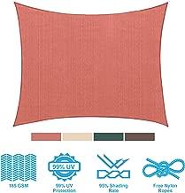 PHI VILLA Sun Shade Sail Square 12'x12' Terra Cotta Patio Canopy Cover - UV Bloack - for Patio, Garden, Yard, Pergola