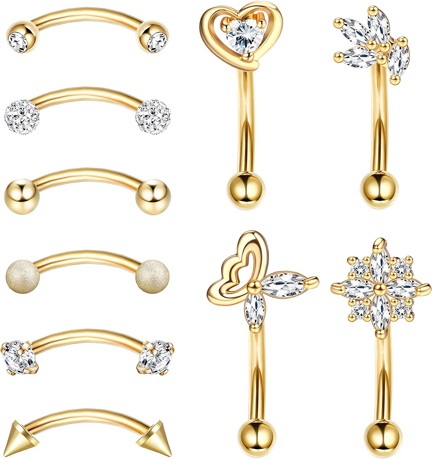 Ubjuliwa 16G Stainless Steel Daith Rook Earring Belly Lip Ring Cartilage Tragus CZ Body Piercing Curved Barbell Eyebrow Rings 8mm