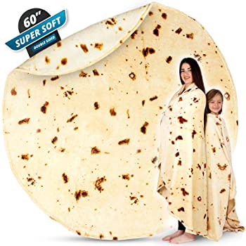 Zulay (60 Inch) Giant Burrito Blanket Double Sided - Novelty Big Burrito Blanket for Adult and Kids - Premium Soft Flannel Round Burrito Tortilla Blanket for Indoors, Outdoors, Travel, Home and More
