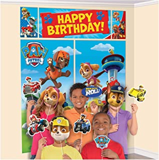 Happy Birthday Paw Patrol Banner, Scene Setter Wall Decorations With 12 Photo Props