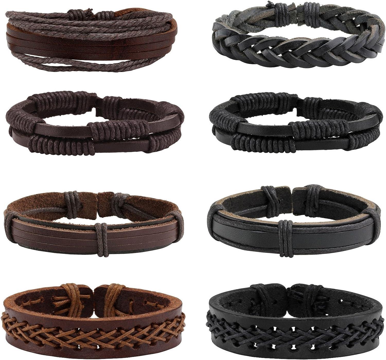 Milakoo 8 Pcs Braided Leather Bracelet for Men Women Wooden Beaded Bracelets Wrap Adjustable