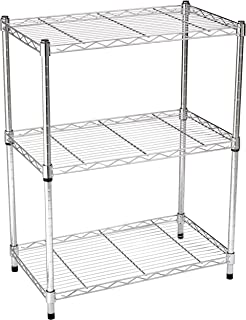 AmazonBasics 3-Shelf Shelving Storage Unit, Metal Organizer Wire Rack, Chrome Silver (23.2L x 13.4W x 30H)