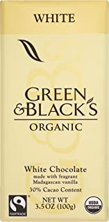 Green & Black's Organic White Chocolate with Vanilla (10 total bars) 30% Cacao Bars