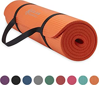 Gaiam Essentials Thick Yoga Mat Fitness & Exercise Mat with Easy-Cinch Yoga Mat Carrier Strap (72